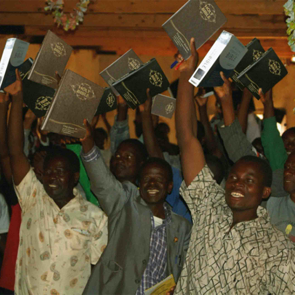 Men in Africa with Bibles donated by LifeHouse ministries
